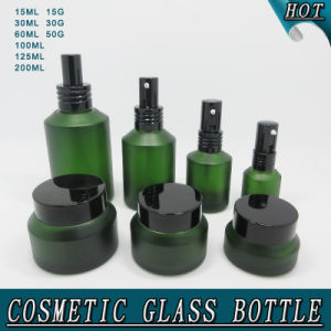 e3f5b116e35c Frosted Green Slant Shoulder Cosmetic Glass Spray Bottle and Glass Cream Jar
