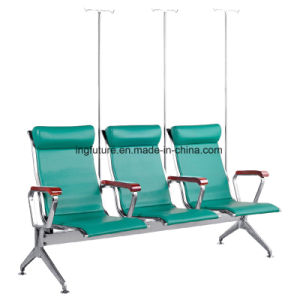 3-Seat Cushioned Hospital Intravenous Drip Chair with Wood Armrest