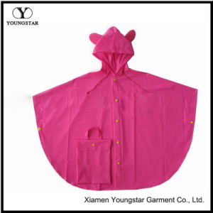 Cheap Pink Color Cute Design PVC Rain Cape for Girls pictures & photos