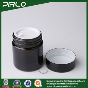 80g 120g Amber Glass Cosmetic Jar with Lid Cylinder Round Glass Skin Care Cream Jar pictures & photos