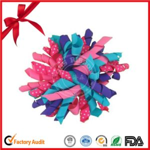 Strip Fabric Mix Color Curling Bow with Hand Made Craft pictures & photos