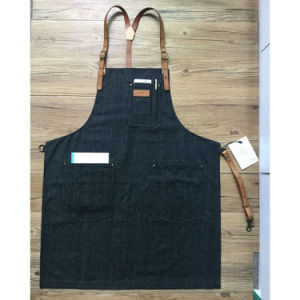 Top Quality Black Denim Barista Aprons with Leather Strap for Sale