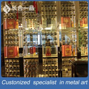 Stainless Steel with Glass Wine Display Cabinet with LED Light pictures & photos