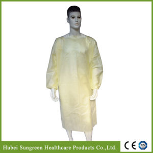 Die Cut Yellow SMS Isolation Gown with Elastic Cuffs pictures & photos