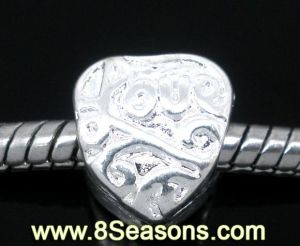 Silver Plated Valentine Love Heart Charms Beads Fit European Charm 10x9mm (B06245)