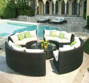8PCS Sofa Set Circa in Black Wicker Round Outdoor Rattan Furniture