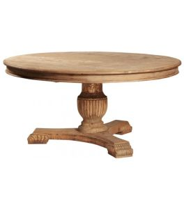 Kvj-Rr08 Round Carved Base Reclaimed Wood Rustic Vintage Dining Table