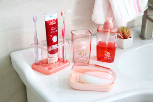 6206 Rosary Square Four Piece Toothbrush Holder Set Bathroom Accessories