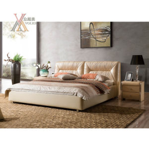 Top Grain Beige Leather Bed for Home (2107+05)