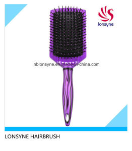 Paddle Cushion Hair Brush with Stripe Painting