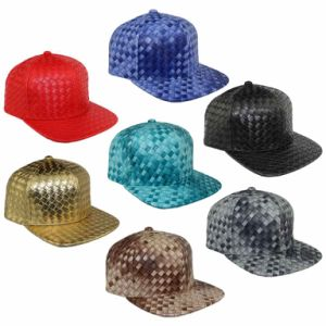 Weave Leather Baseball Caps Multicolor Cross Stripe Fashion Hats pictures & photos