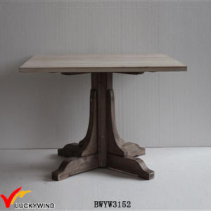 China Farm Chic Seaters Square Solid Wood Pedestal Dining Table - Square pedestal dining table for 4