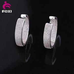 Micro Pave Cubic Zirconia Jewelry Silver Cz Diamond Hoop Earring