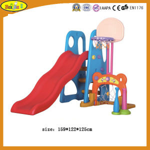 2015 Latest Kids Plastic Slide with Basketball Stand