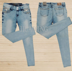 2016 New Slim Denim Latest Design Skinny Pencil Woman Jeans (HDLJ0047) pictures & photos