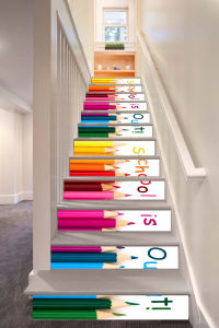 Homeli Colorful Pencil Image Wallpaper Using For Stair Decoration,  Removable Stair Decals, Stair Stickers