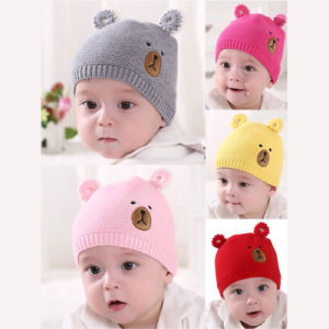 8f06200a98a1b Autumn Winter Newborn Baby Knit Hat Scarf Set Cartoon Bear Kids Boys Girls Winter  Beanie Hat