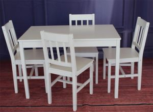 Promotional Simple Solid Pine Wood Dining Table Chair