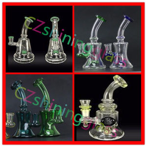 Small Shining 9 Inches Glass Smoking Water Pipe with Colorful Perc pictures & photos