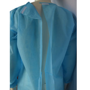 Disposable PP Non-Woven Blue Isolation Gown with Knitted Cuffs pictures & photos