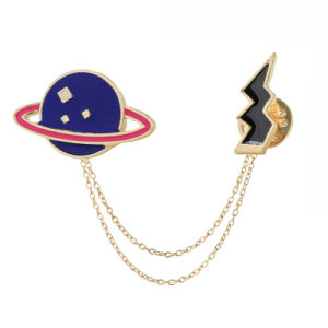 Zinc Alloy Enamel Celestial Body&Flashing Lightning Brooches Pins for Womens Jewelry Needle Brooch Lapel Pin Collar