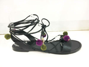 New Style Lady Fashion Women Flat Heel Sandals with Long Lace and Beads