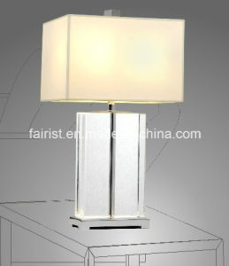 Modern Glass Table Lamp with Cloth Shade