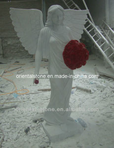 White Marble Angle Sculpture, Outdoor Decoration Stone Sculpture