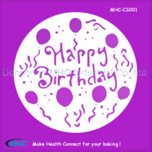 China OEM Size Happy Birthday Cake Stencil Template With High