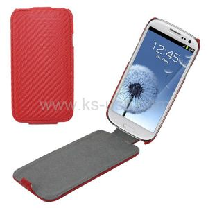 Carbon Fiber Leather Case for Samsung Galaxy S3 I9300 (KCLC-2070R)