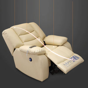 China Yellow Leather Recliner Sofa For