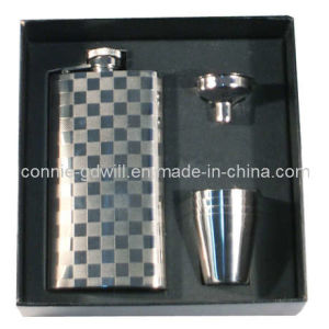 3-PC Stainless Steel Hip Flask Set in Gift Box