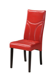 Modern Red PVC Leather Dining Chair with Wooden Leg
