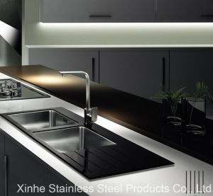 Tempered Glass Top Stainless Steel Kitchen Sink With Drainboard
