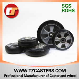 Swivel Caster with Brake Rubber Wheel Aluminum Center pictures & photos