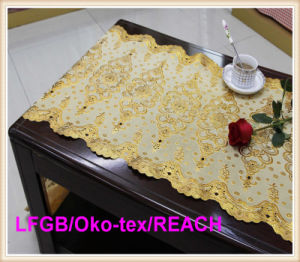 PVC Golden Lace Table Cloth in Roll Factory for Wedding Use pictures & photos