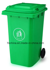 240L Plastic Waste Bin with Open Top Structrue and Two Wheels pictures & photos