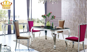 Modern French Stylish Black Glass Stainless Steel Home Dining Furniture pictures & photos