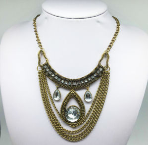 Glass Stone Anti Plating Chain Necklace (XJW13789) pictures & photos