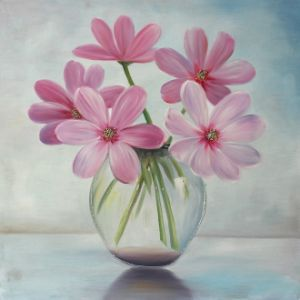 Pink Flower Hand Oil Painting - Canvas Wall Art