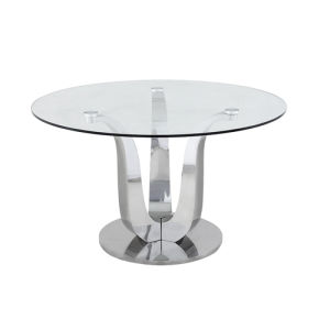 Modern Plain Glass Top Round Base Dining Table With Stainless Steel Legs