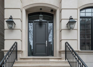 Tuscani Sandblast Glass Left Hand Inswing Front Main Entrance Door
