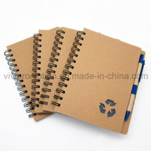 Custom Wholesale Spiral Notebook with Eco Friendly Pen for Promotion (SNB125) pictures & photos