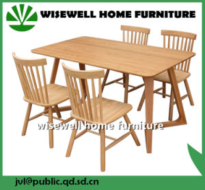 Oak Dining Table with 4 Chairs for Home Furniture (W-DF-0687)