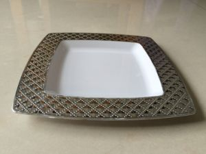 7.5  Plastic Square Salad Plate with Silver Rim ... & China 7.5
