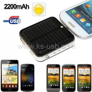 Portable 2200mAh Micro USB Mobile Phone Station with Solar Charger / External Backup Battery Charger for Galaxy and HTC One Series (KTPC-0038)