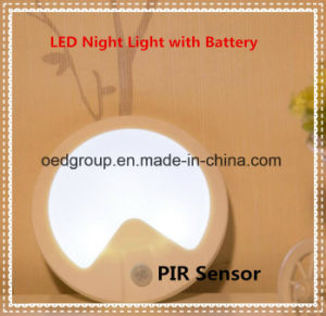 Human-Body Detection and Optical Sensor LED Night Lamp with Battery pictures & photos