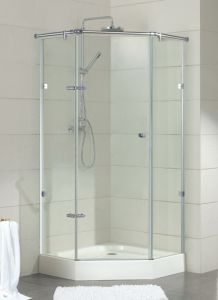 Stainless Steel Component Diamond Shape Frameless Hinge Shower Enclosure (09-012) pictures & photos