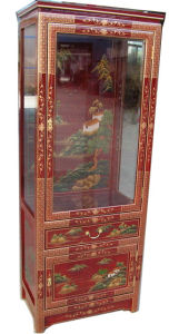 Classic Antique Chinese Furniture Oriental Glass Cabinet