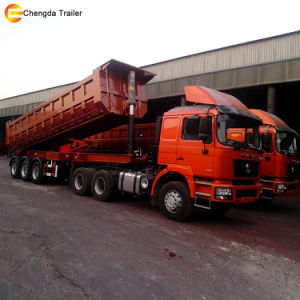3 Axles 80ton Hydraulic End Dumper Tipper Trailer pictures & photos